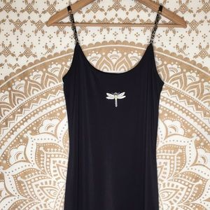 Vtg 90s L Slinky Black Dragonfly Mini Dress